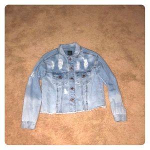 Ombré women's S ripped denim jacket, hemmed edge